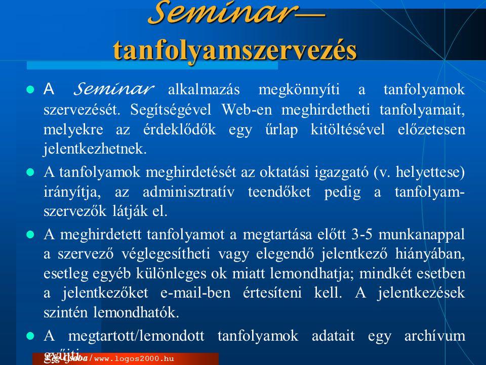 Seminar — tanfolyamszervezés