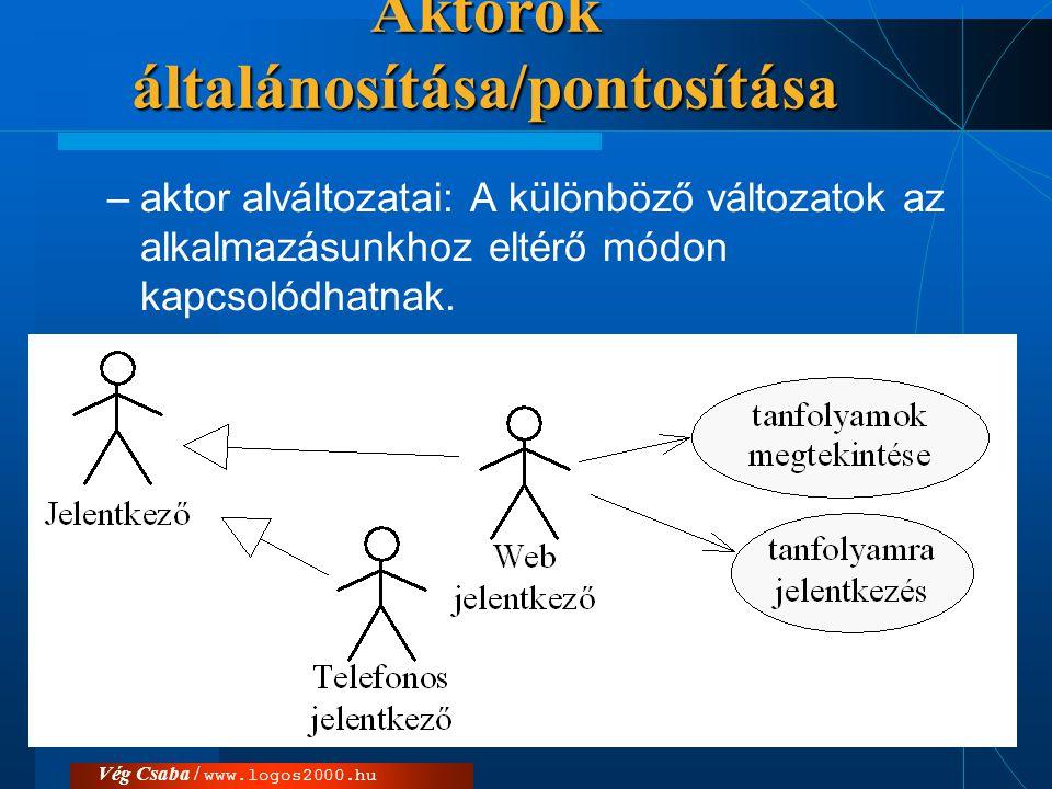Aktorok általánosítása/pontosítása