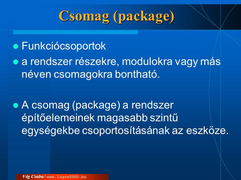 Csomag (package) Funkciócsoportok