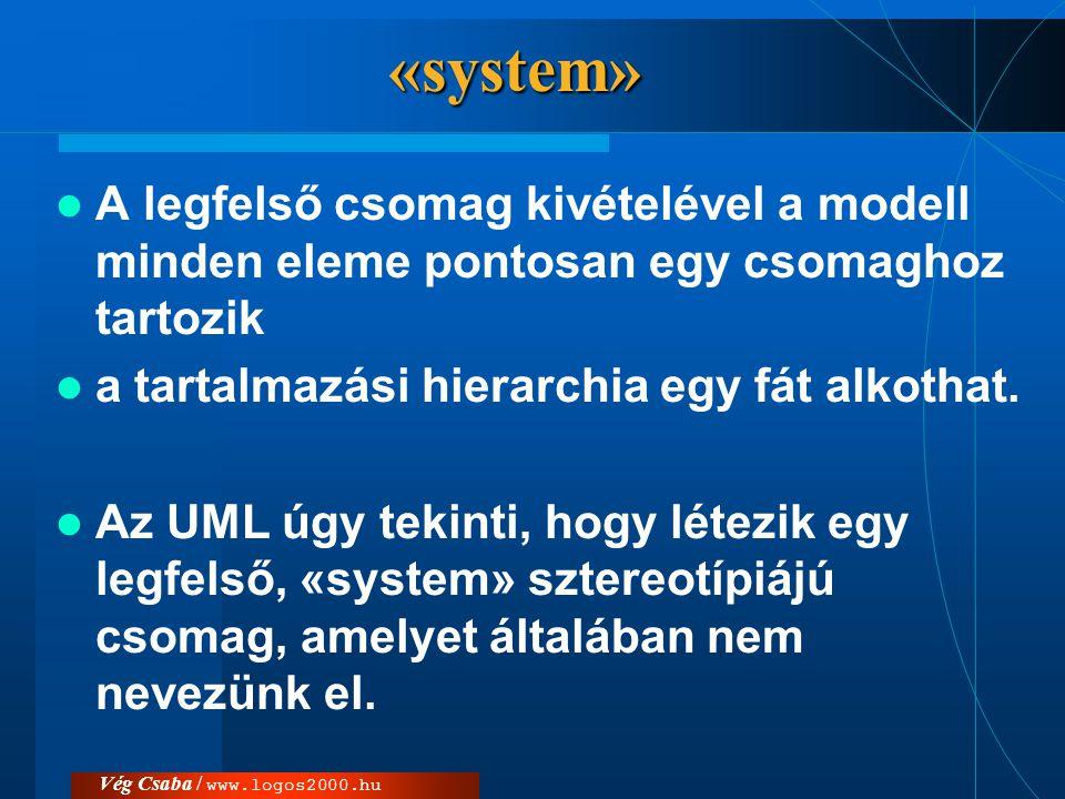 «system» A legfelső csomag kivételével a modell minden eleme pontosan egy csomaghoz tartozik. a tartalmazási hierarchia egy fát alkothat.