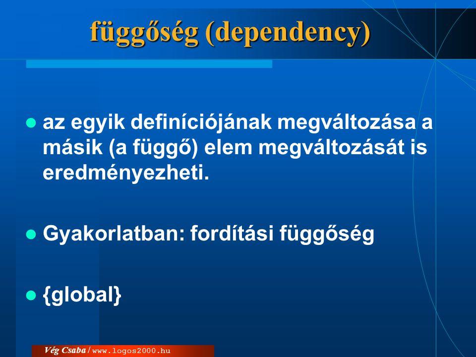 függőség (dependency)