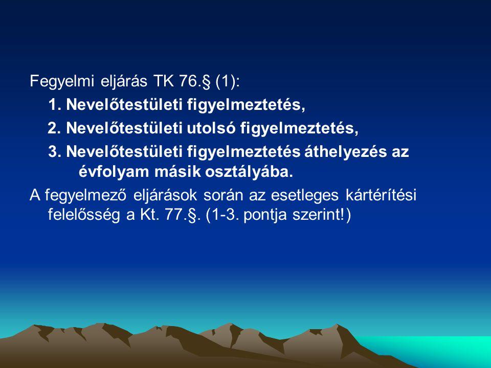 Fegyelmi eljárás TK 76.§ (1):