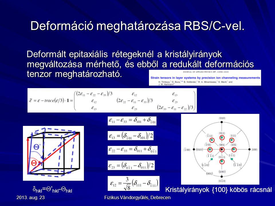 Deformáció meghatározása RBS/C-vel.