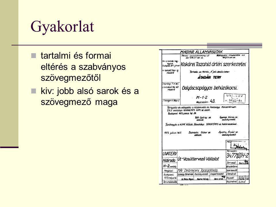 Gyakorlat tartalmi és formai eltérés a szabványos szövegmezőtől