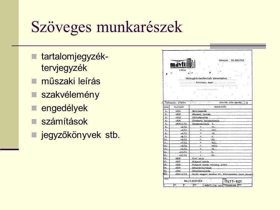 Szöveges munkarészek tartalomjegyzék-tervjegyzék műszaki leírás