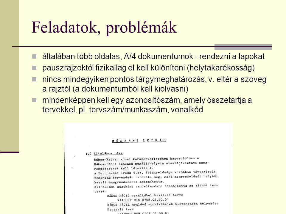 Feladatok, problémák általában több oldalas, A/4 dokumentumok - rendezni a lapokat. pauszrajzoktól fizikailag el kell különíteni (helytakarékosság)