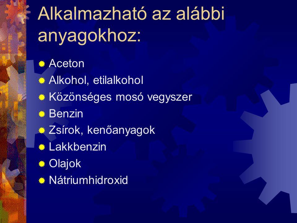 Alkalmazható az alábbi anyagokhoz: