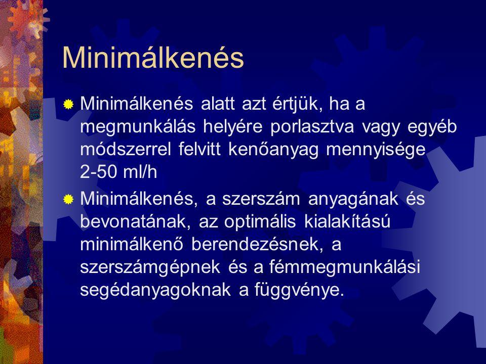 Minimálkenés Minimálkenés alatt azt értjük, ha a megmunkálás helyére porlasztva vagy egyéb módszerrel felvitt kenőanyag mennyisége 2-50 ml/h.