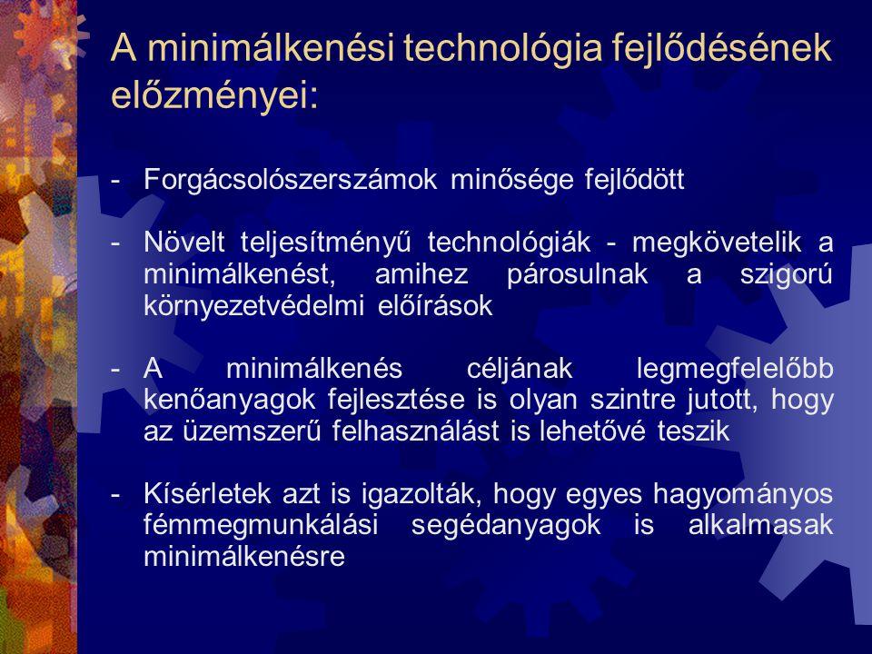 A minimálkenési technológia fejlődésének előzményei: