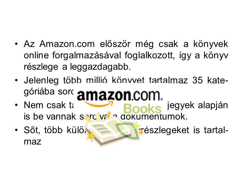 Az Amazon.com először még csak a könyvek online forgalmazásával foglalkozott, így a könyv részlege a leggazdagabb.
