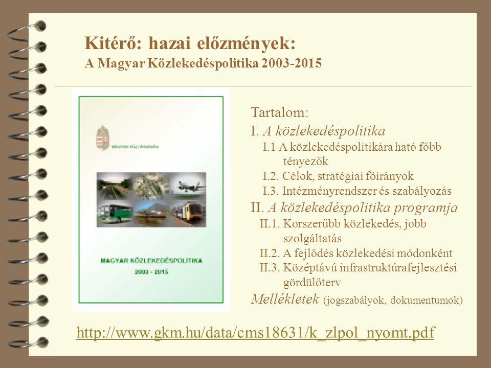 Kitérő: hazai előzmények: A Magyar Közlekedéspolitika 2003-2015