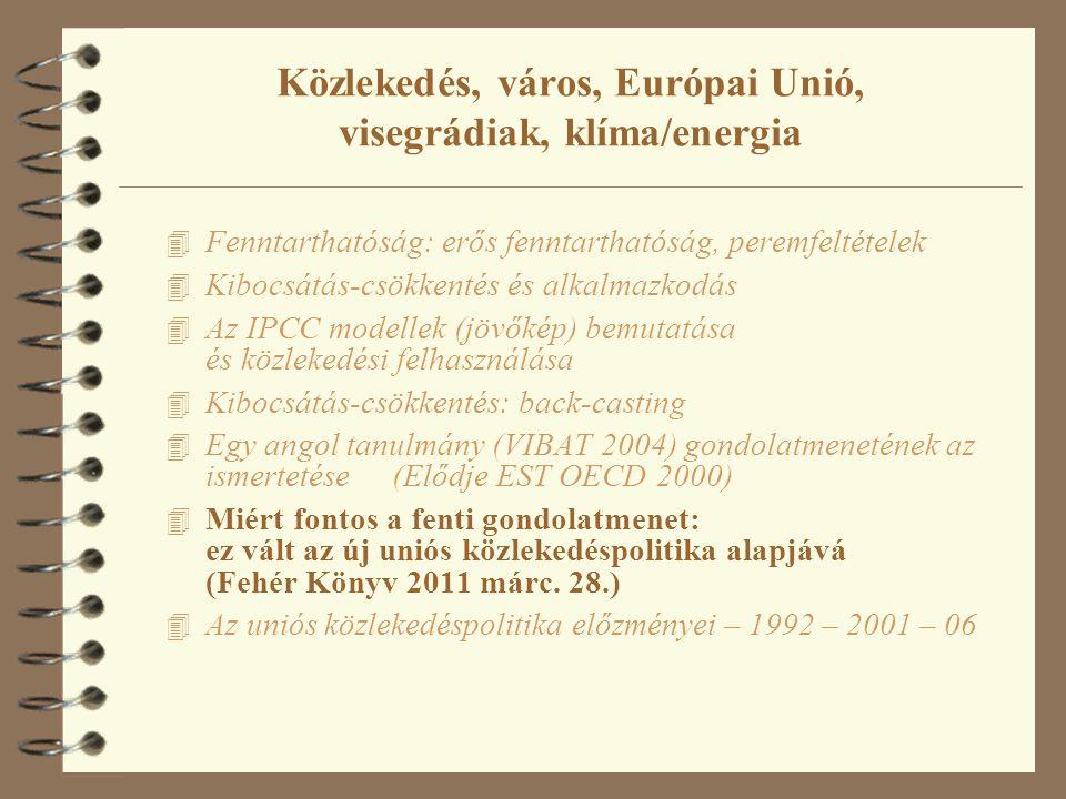 Közlekedés, város, Európai Unió, visegrádiak, klíma/energia