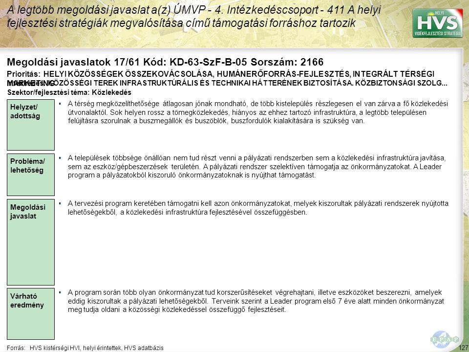 Megoldási javaslatok 17/61 Kód: KD-63-SzF-B-05 Sorszám: 2166