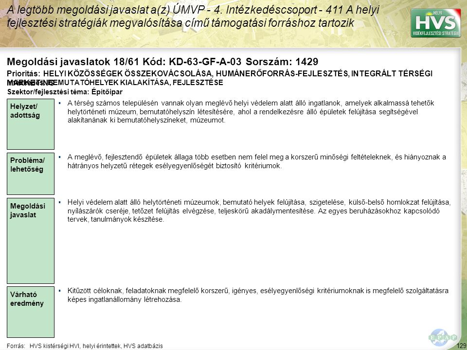 Megoldási javaslatok 18/61 Kód: KD-63-GF-A-03 Sorszám: 1429