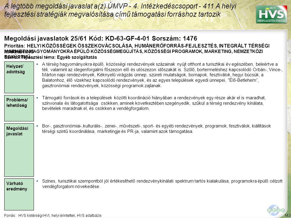 Megoldási javaslatok 25/61 Kód: KD-63-GF-4-01 Sorszám: 1476
