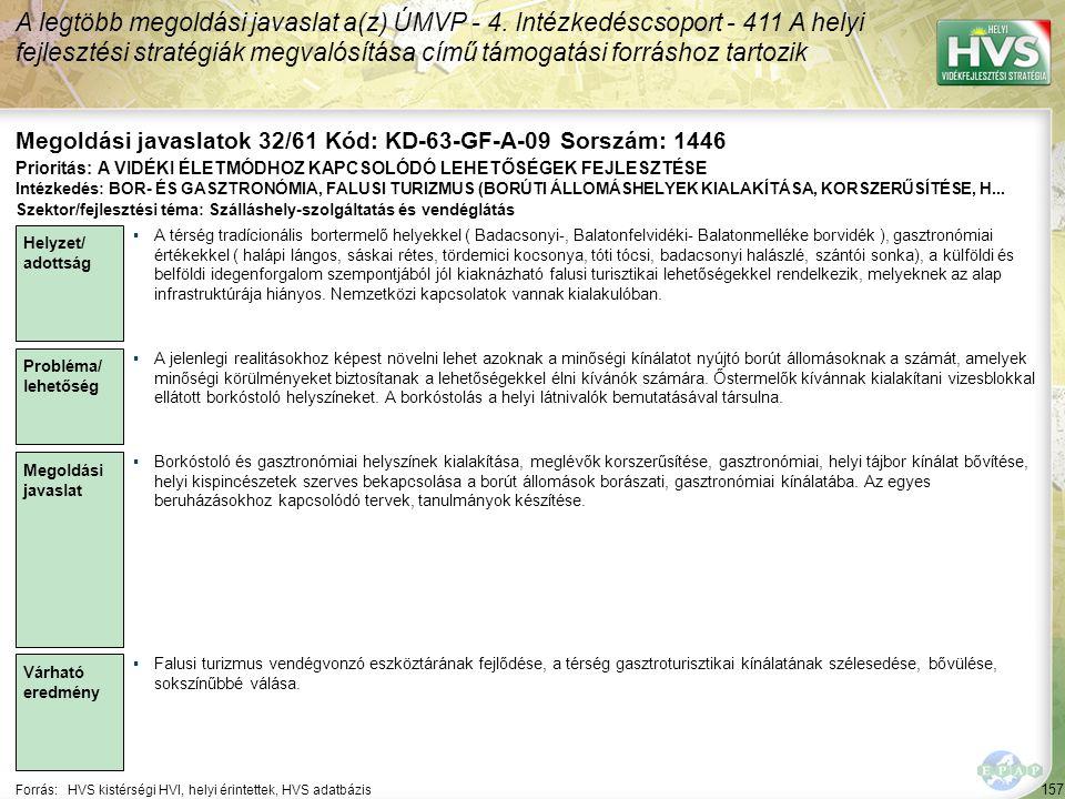 Megoldási javaslatok 32/61 Kód: KD-63-GF-A-09 Sorszám: 1446