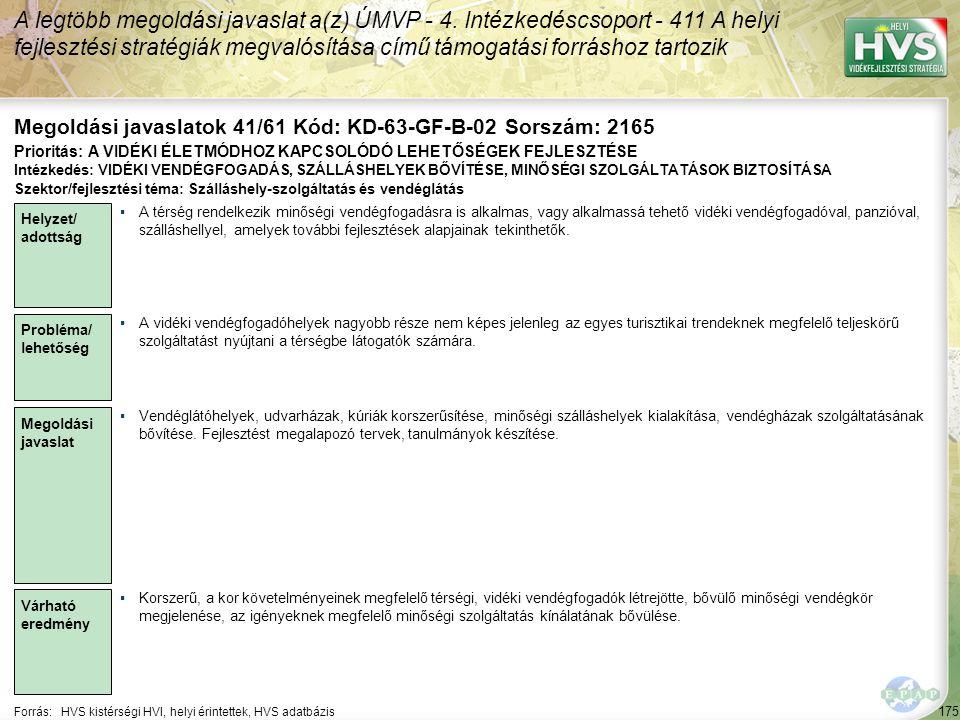 Megoldási javaslatok 41/61 Kód: KD-63-GF-B-02 Sorszám: 2165