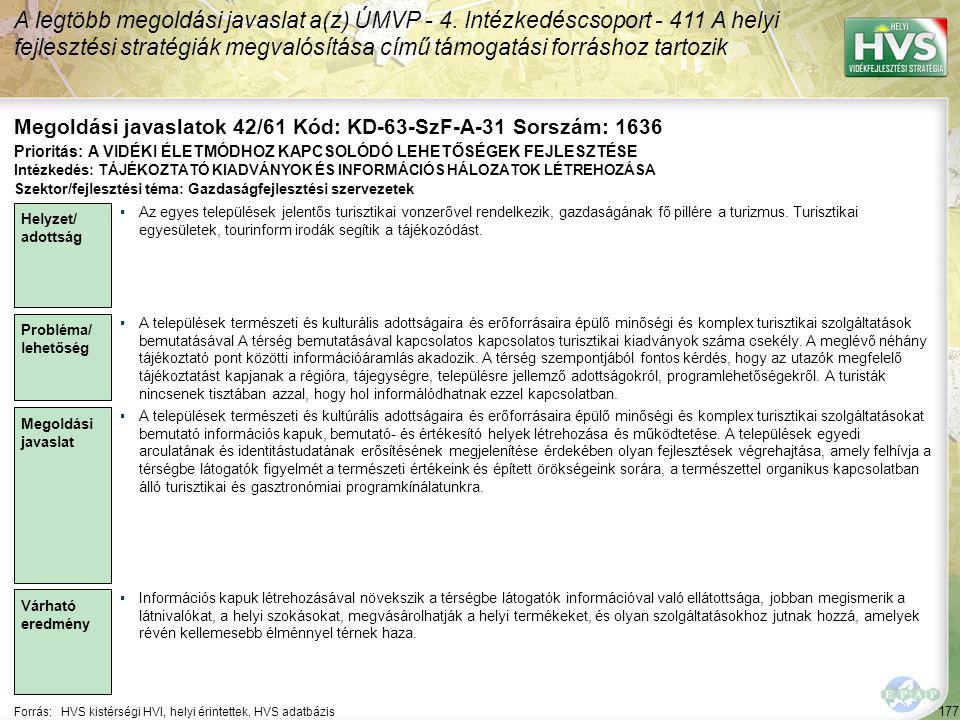 Megoldási javaslatok 42/61 Kód: KD-63-SzF-A-31 Sorszám: 1636