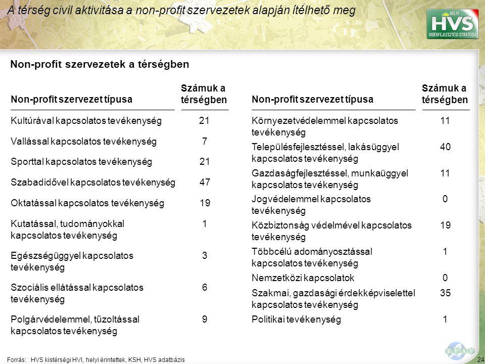 A térség jelentősebb non-profit szervezeteinek jellemzése 1/2