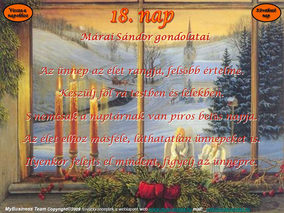 18. nap Márai Sándor gondolatai