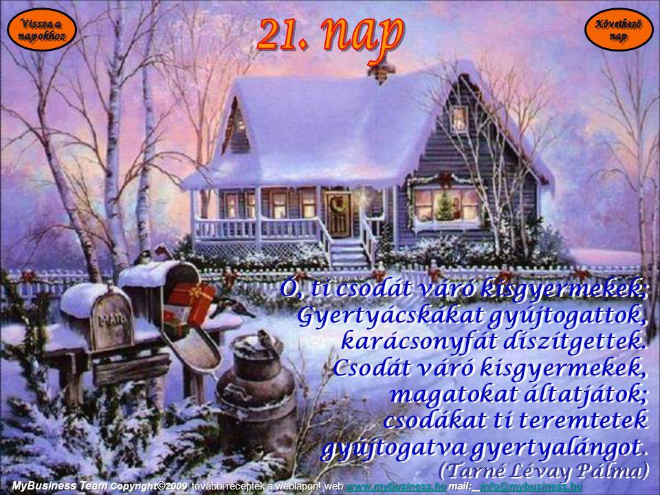 21. nap Ó, ti csodát váró kisgyermekek; Gyertyácskákat gyújtogattok,