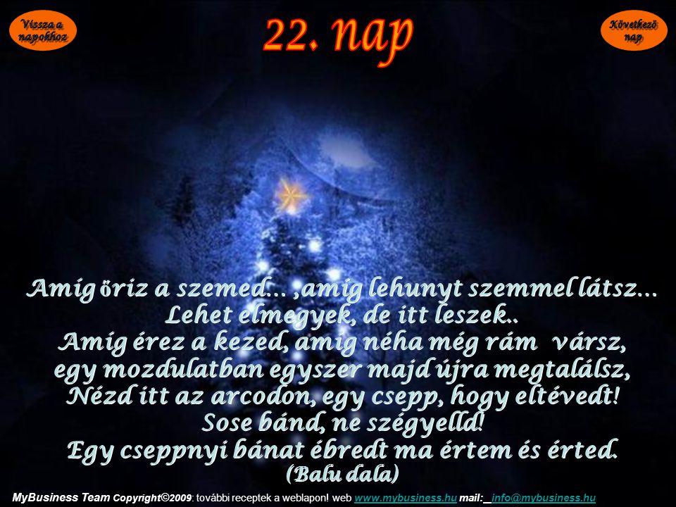 22. nap Amíg őriz a szemed… ,amíg lehunyt szemmel látsz…