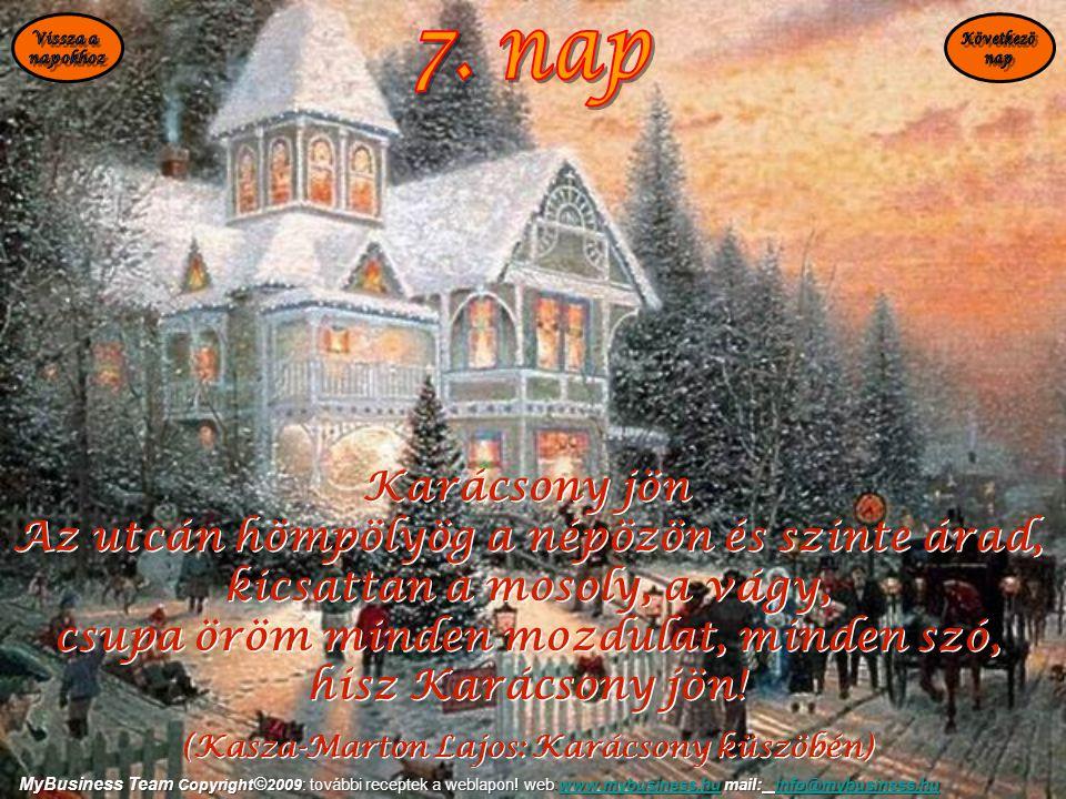7. nap Karácsony jön Az utcán hömpölyög a népözön és szinte árad,