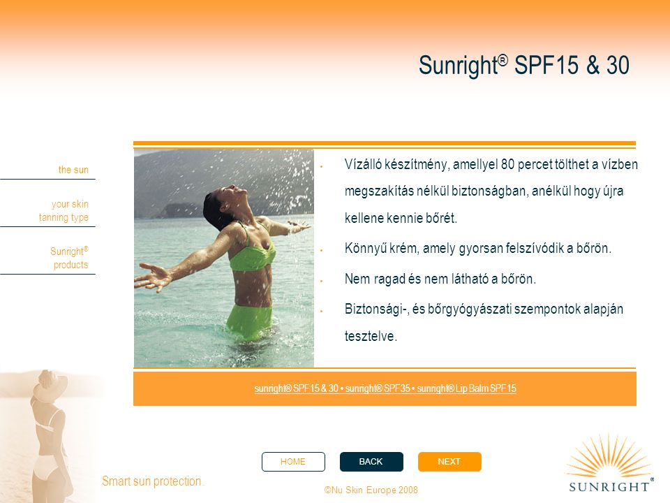sunright® SPF15 & 30 • sunright® SPF35 • sunright® Lip Balm SPF15