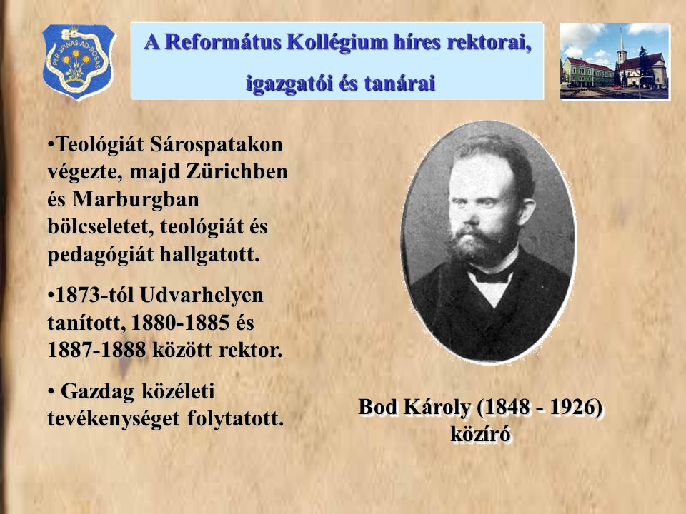 A Református Kollégium híres rektorai,