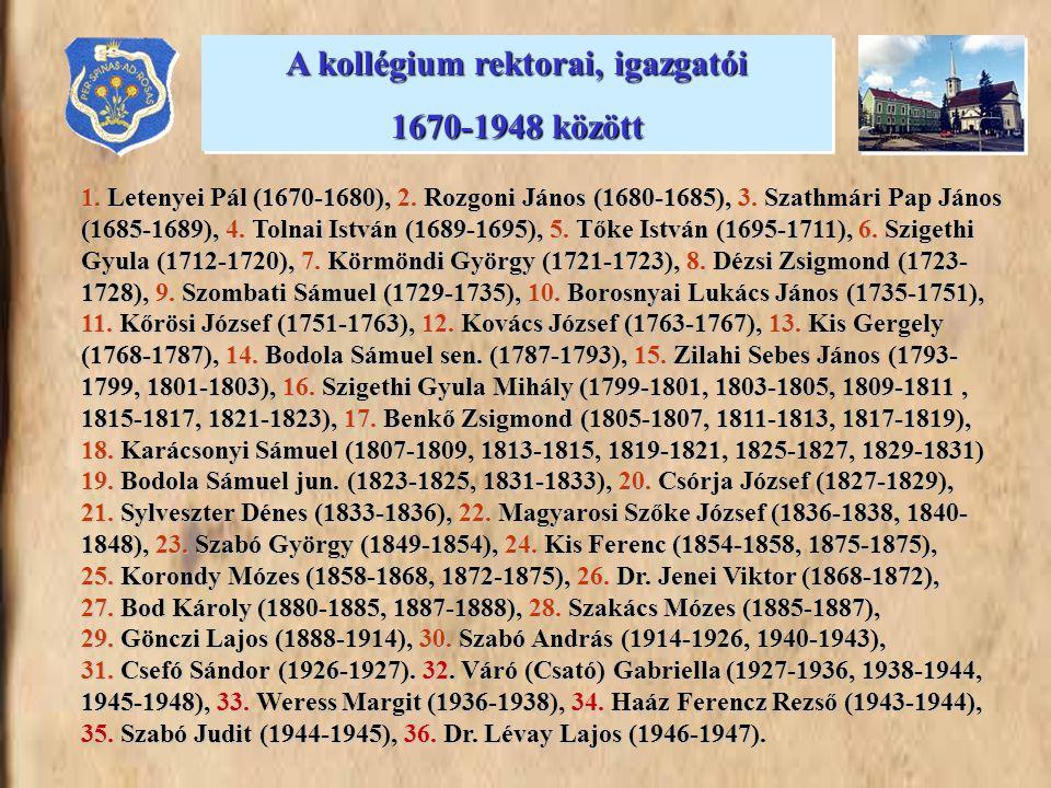 A kollégium rektorai, igazgatói