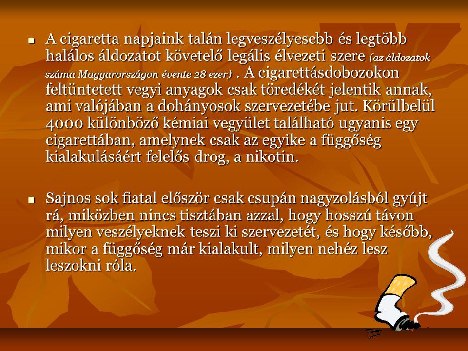 A cigaretta napjaink talán legveszélyesebb és legtöbb halálos áldozatot követelő legális élvezeti szere (az áldozatok száma Magyarországon évente 28 ezer) . A cigarettásdobozokon feltüntetett vegyi anyagok csak töredékét jelentik annak, ami valójában a dohányosok szervezetébe jut. Körülbelül 4000 különböző kémiai vegyület található ugyanis egy cigarettában, amelynek csak az egyike a függőség kialakulásáért felelős drog, a nikotin.