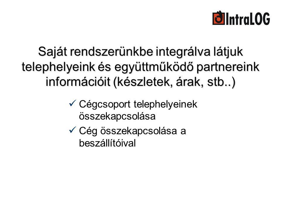 Saját rendszerünkbe integrálva látjuk telephelyeink és együttműködő partnereink információit (készletek, árak, stb..)