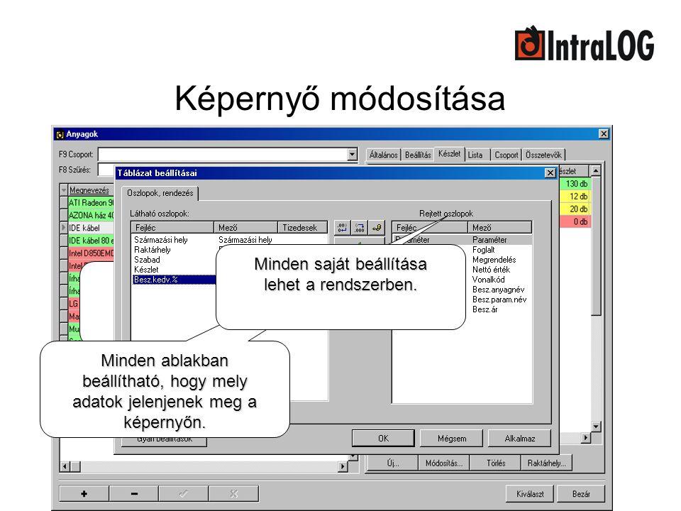 Képernyő módosítása Minden saját beállítása lehet a rendszerben.