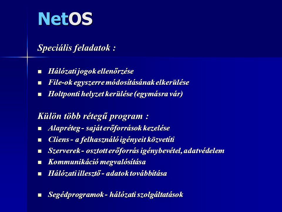 NetOS Speciális feladatok : Külön több rétegű program :