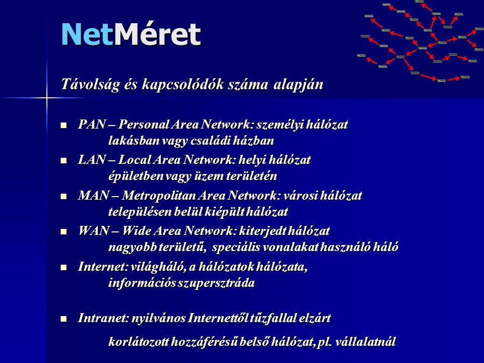 NetMéret Távolság és kapcsolódók száma alapján
