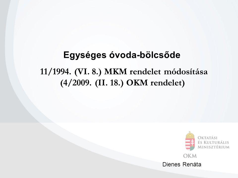 11/1994. (VI. 8.) MKM rendelet módosítása