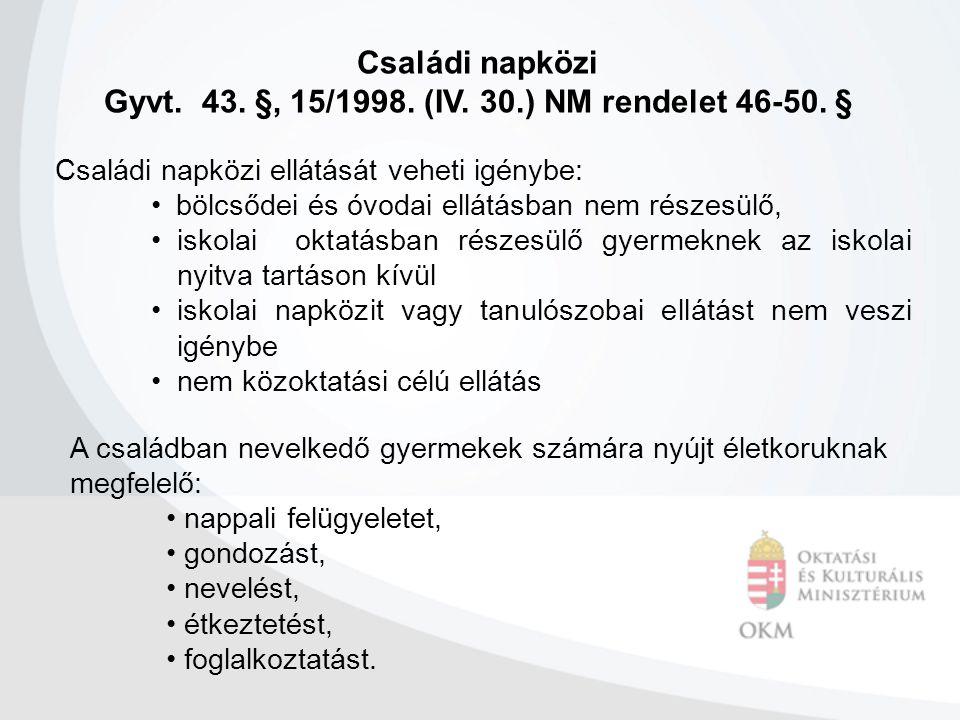 Gyvt. 43. §, 15/1998. (IV. 30.) NM rendelet 46-50. §