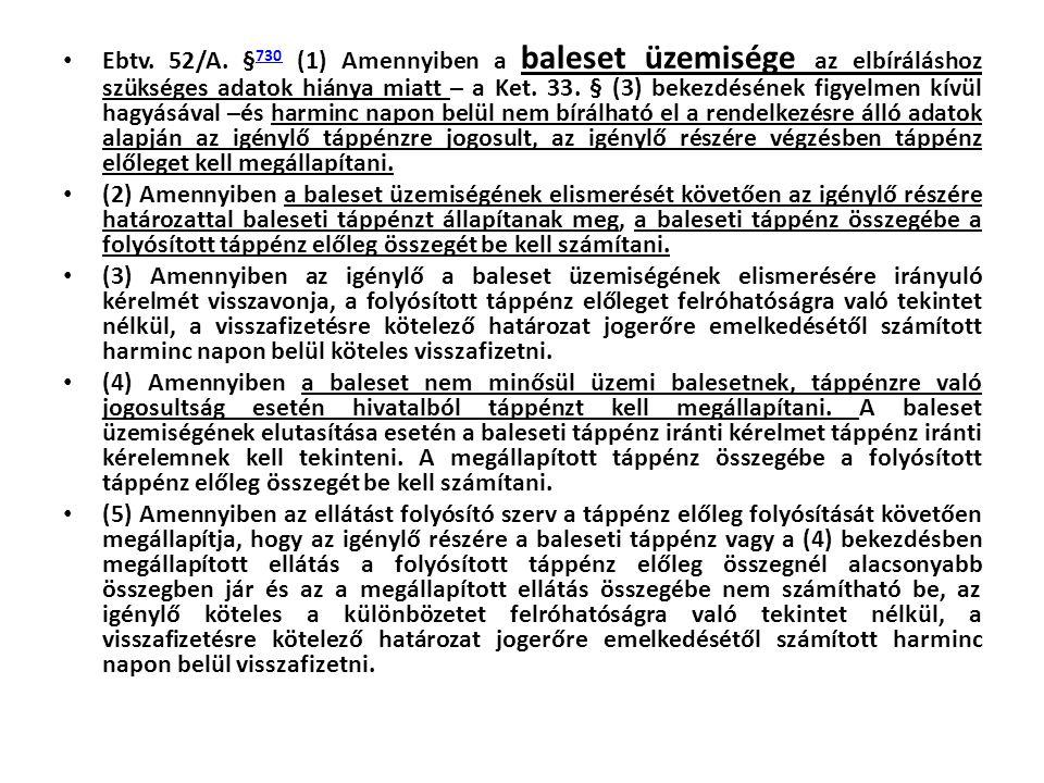 Ebtv. 52/A. §730 (1) Amennyiben a baleset üzemisége az elbíráláshoz szükséges adatok hiánya miatt – a Ket. 33. § (3) bekezdésének figyelmen kívül hagyásával –és harminc napon belül nem bírálható el a rendelkezésre álló adatok alapján az igénylő táppénzre jogosult, az igénylő részére végzésben táppénz előleget kell megállapítani.