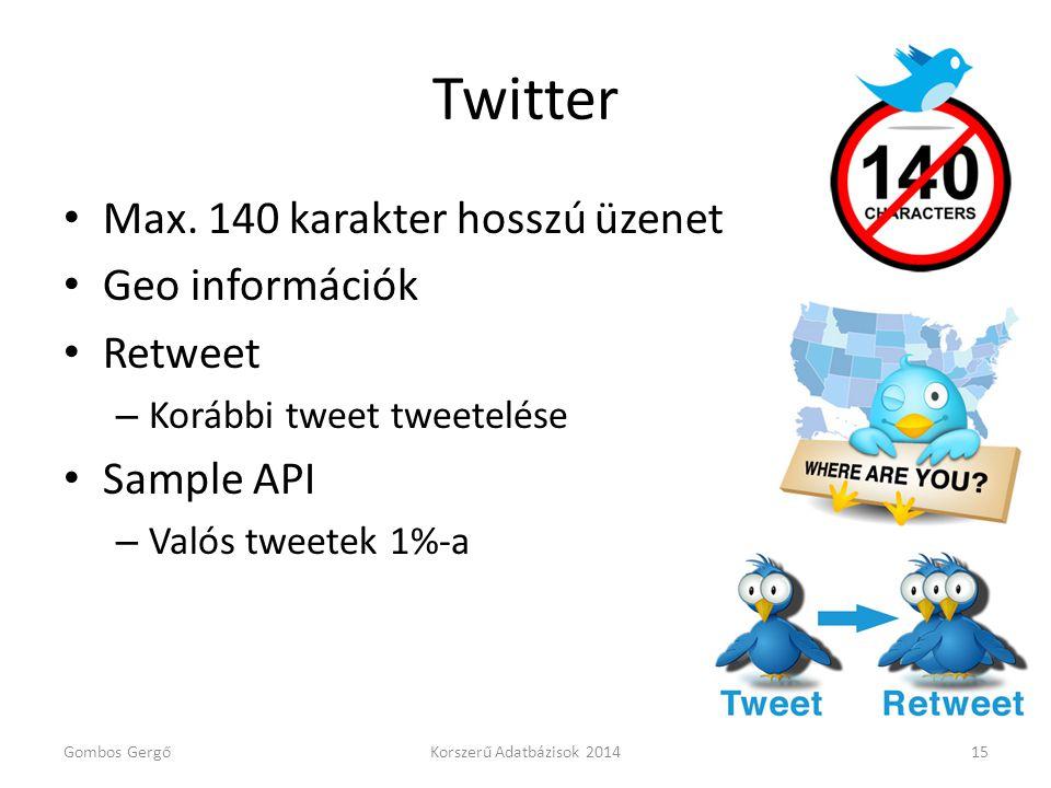 Twitter Max. 140 karakter hosszú üzenet Geo információk Retweet