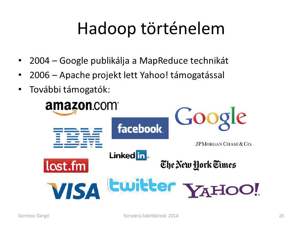 Hadoop történelem 2004 – Google publikálja a MapReduce technikát