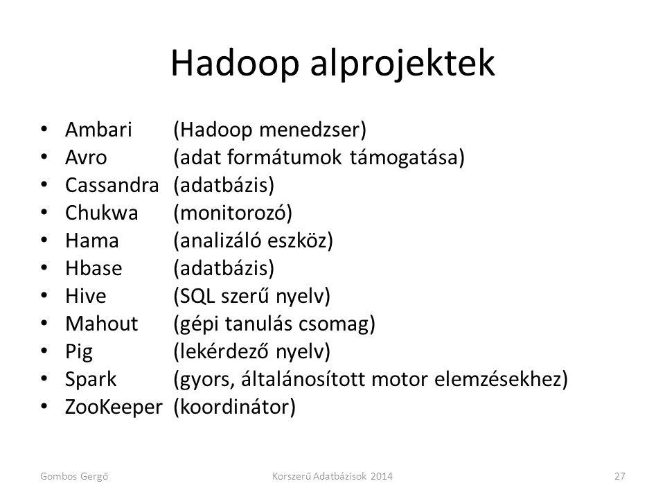 Hadoop alprojektek Ambari (Hadoop menedzser)