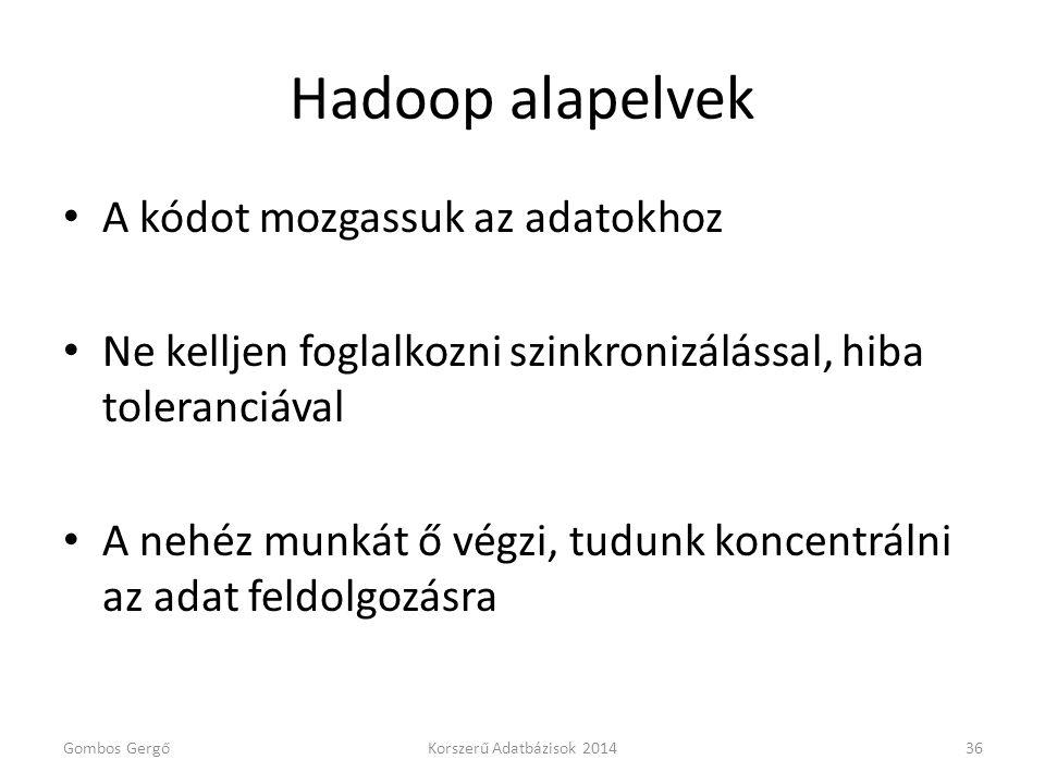 Hadoop alapelvek A kódot mozgassuk az adatokhoz