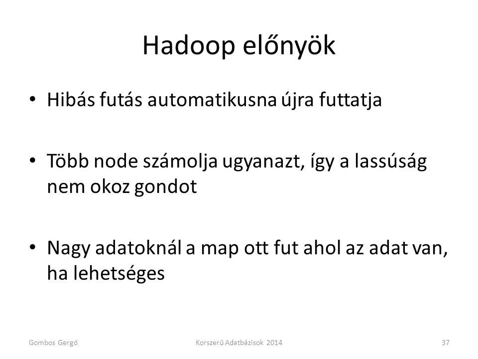 Hadoop előnyök Hibás futás automatikusna újra futtatja