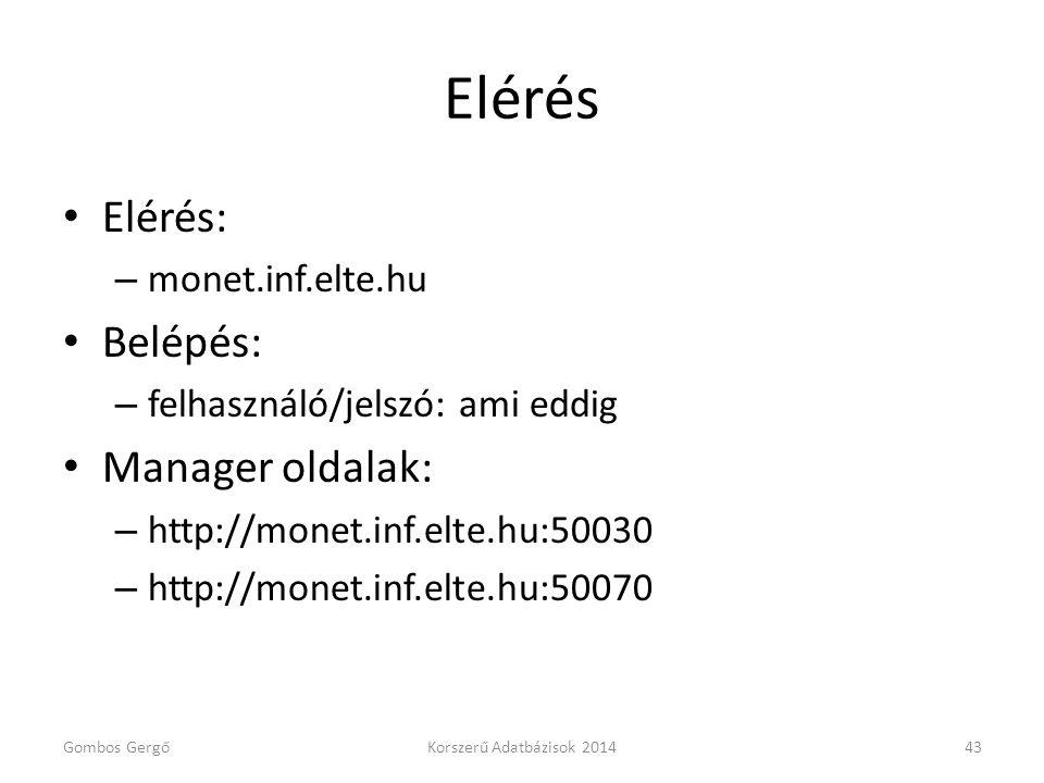 Elérés Elérés: Belépés: Manager oldalak: monet.inf.elte.hu