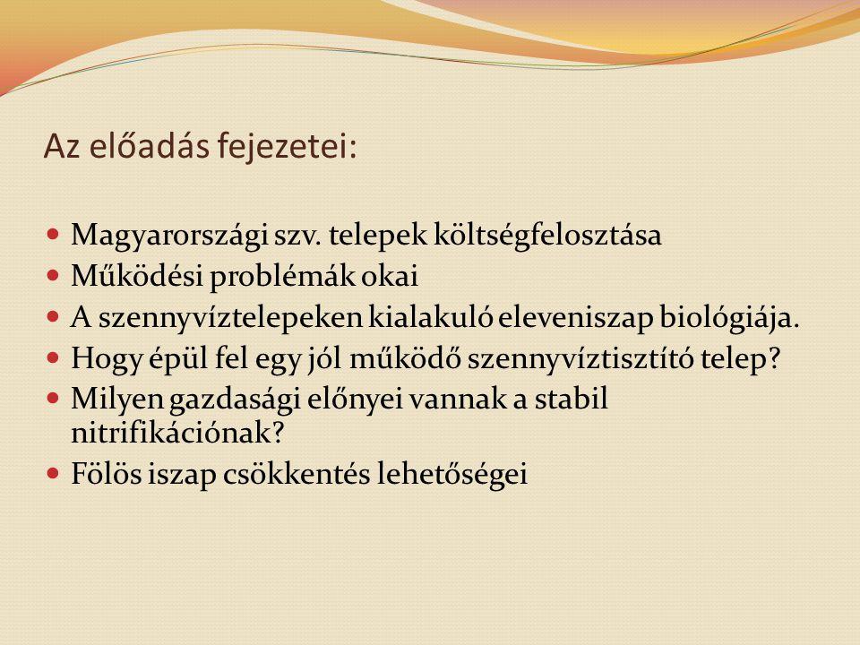 Az előadás fejezetei: Magyarországi szv. telepek költségfelosztása