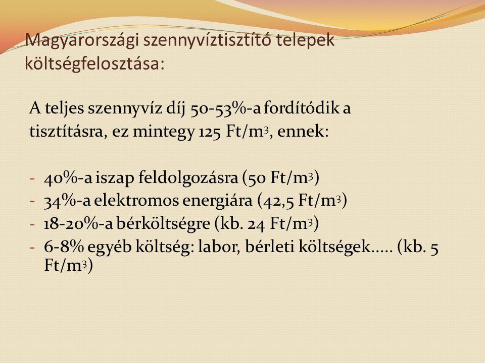 Magyarországi szennyvíztisztító telepek költségfelosztása: