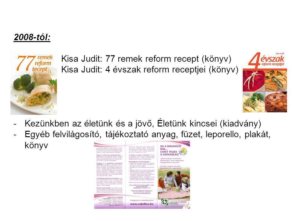2008-tól: Kisa Judit: 77 remek reform recept (könyv) Kisa Judit: 4 évszak reform receptjei (könyv)