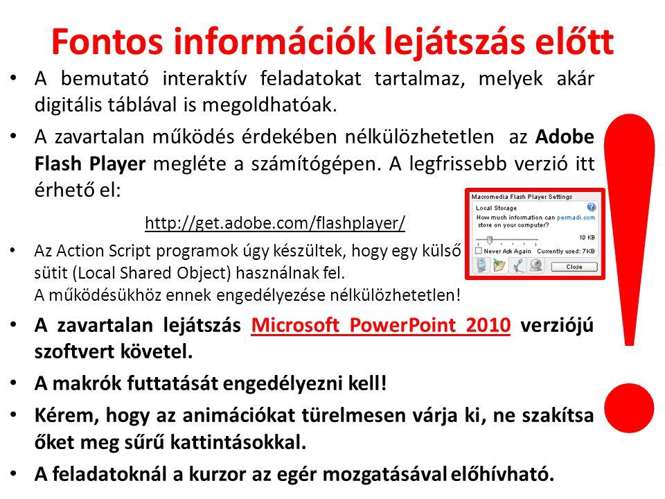 Fontos információk lejátszás előtt