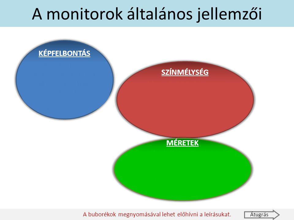 A monitorok általános jellemzői