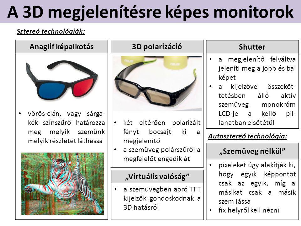 A 3D megjelenítésre képes monitorok